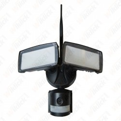 18W LED Floodlight With WIFI Sensor Camera Black 6000K