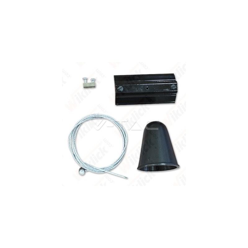 Hanging Track Light Kit 1M/4Line Black