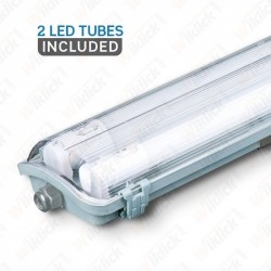 LED Waterproof Lamp PC/PC 2x1200mm (2 x 18W) 6400K (tubi led compresi)