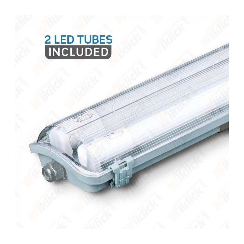 LED Waterproof Lamp PC/PC 2x1500mm (2 x 22W) 6400K (tubi led compresi)