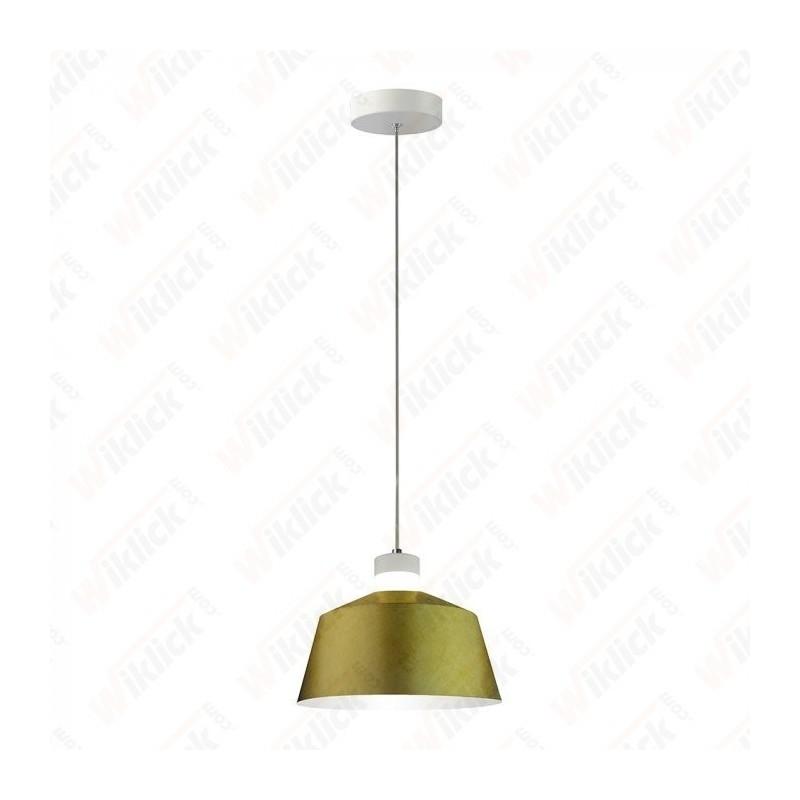 7W Led Pendant Light (Acrylic) - Gold Lamp Shade 250*190mm 3000K