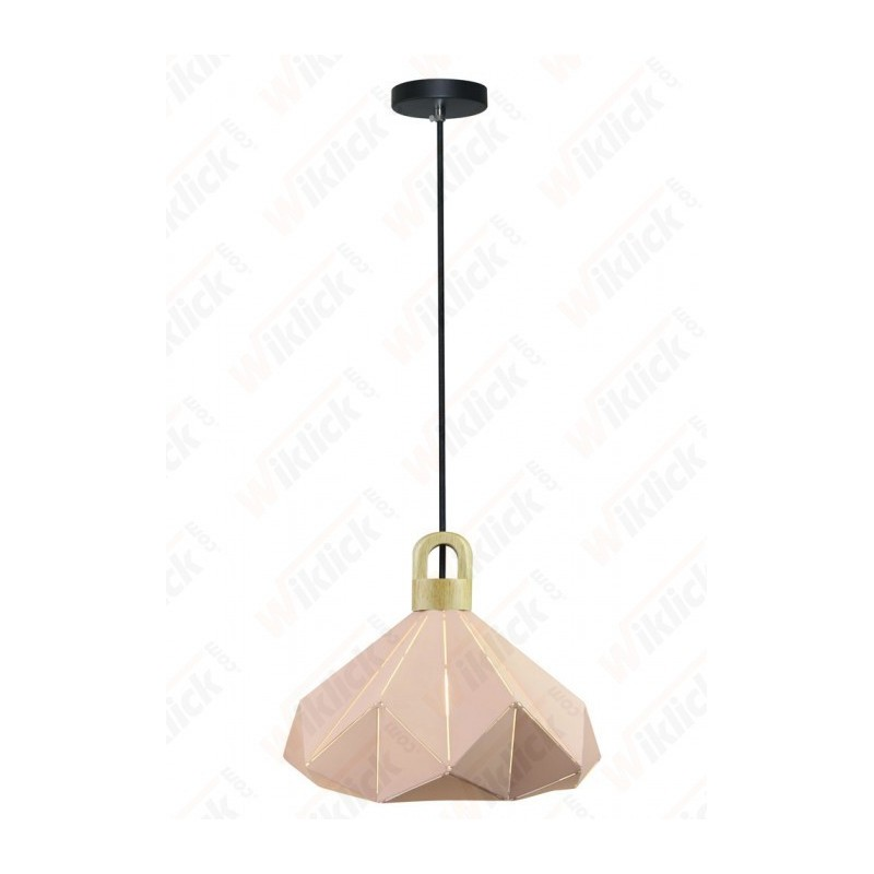 Pendant Light Pastel Wooden Prism Pink 320*270mm
