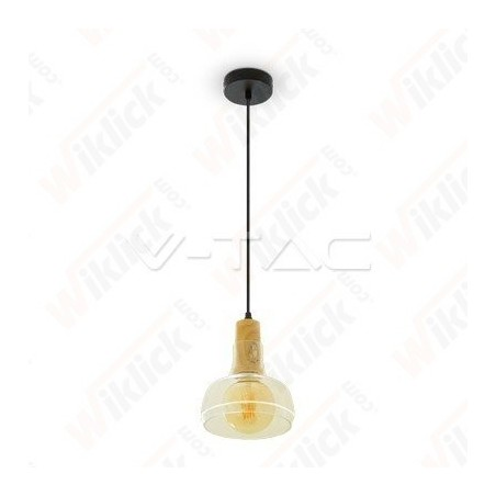 Transparent Glass Pendant W/Wood 170cm
