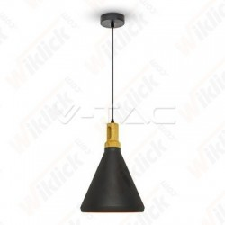 Modern Pendant Light Wooden Top Black Color