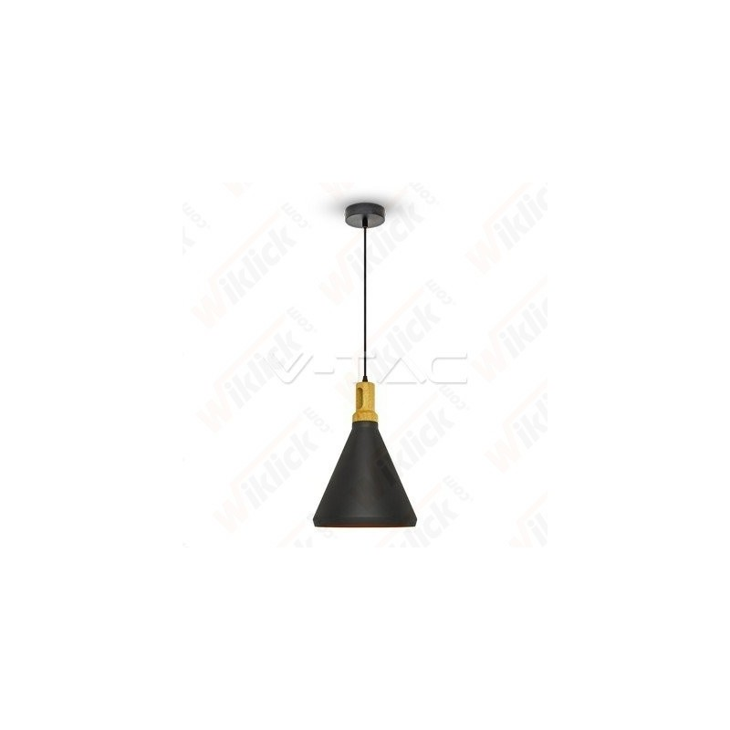 Modern Pendant Light Wooden Top Black Color
