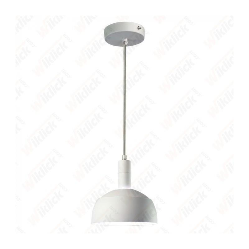 Plastic Pendant Lamp Holder E27 With Slide Aluminum Shade White