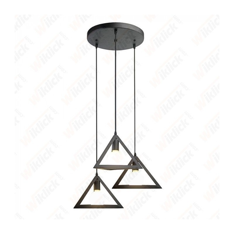 Trio Geometric Black Pendant Light E27 With Black Canopy