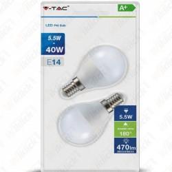 LED Bulb - 5.5W E14 P45 4000K (Blister 2 pezzi)