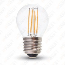 V-TAC VT-1980 LAMPADINA LED E27 4W G45 FILAMENT CON VETRO TRASPARENTE LUCE BIANCO NATURALE