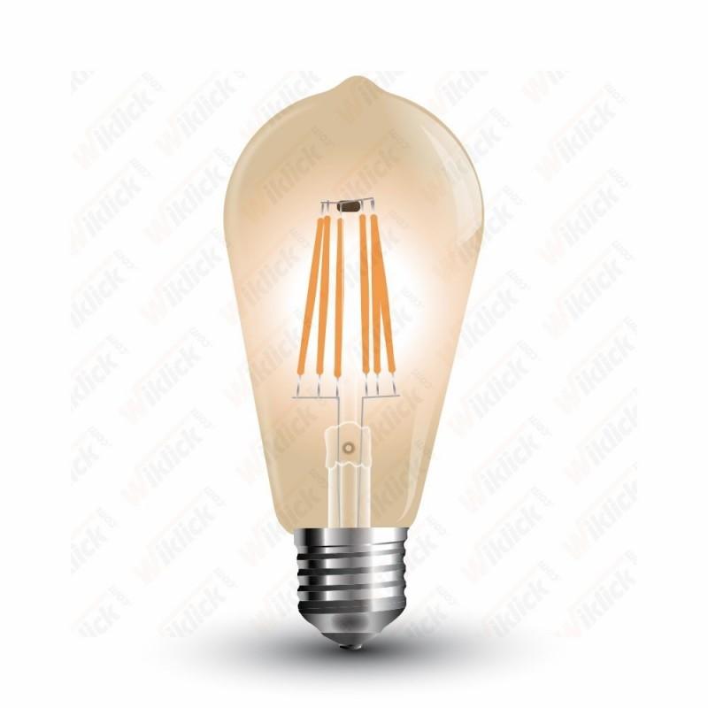 VT-1964 LED Bulb - 4W E27 Filament Amber Cover ST64 2200K