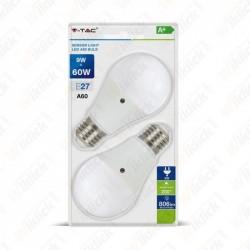 VT-2109 LED Bulb - 9W E27 A60 Thermoplastic Sensor 200D 6400K (Blister 2 Pezzi)