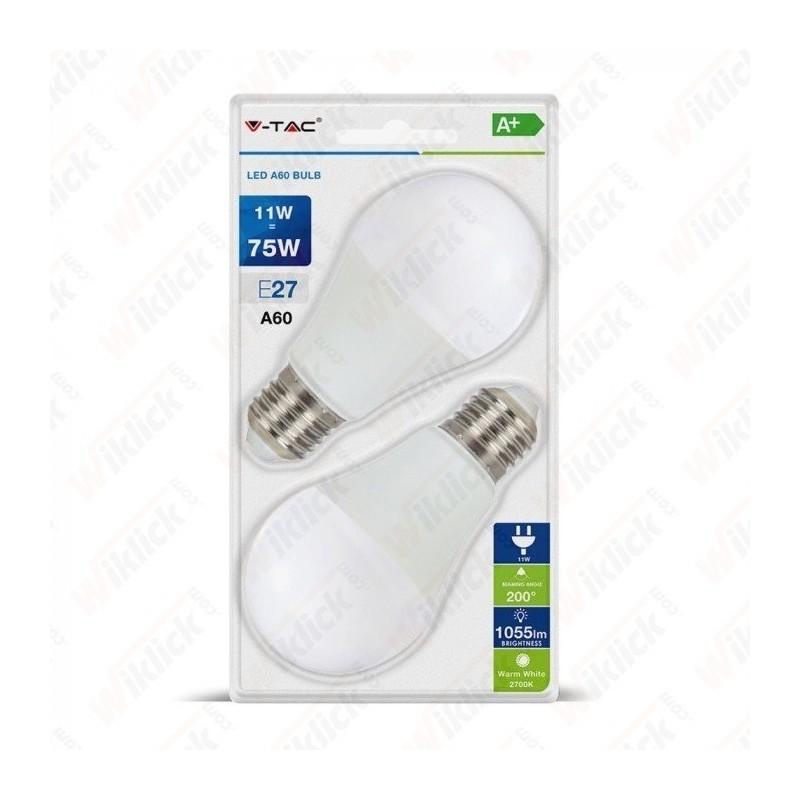 VT-2111 LED Bulb 11W A60 E27 4000K (Blister 2 pezzi)