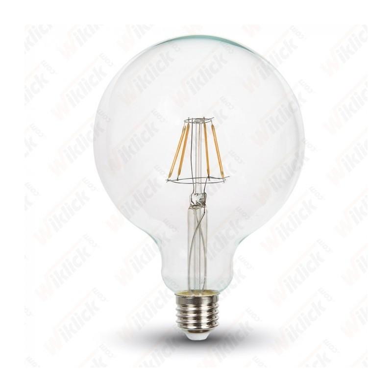 V-TAC VT-1994D LAMPADINA LED E27 4W GLOBO G125 FILAMENT DIMMERABILE LUCE BIANCO CALDO