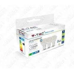 VT-2095 LED Spotlight - 5W GU10 SMD White Plastic 3000K (Box 3 pezzi)