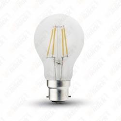 V-TAC VT-2035 LAMPADINA LED B22 5W A60 FILAMENT CON VETRO TRASPARENTE LUCE BIANCO CALDO