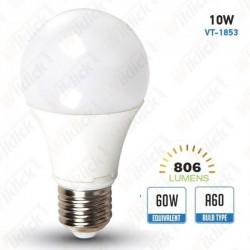 V-TAC VT-1853 LAMPADINA LED E27 10W A60 LUCE BIANCO CALDO