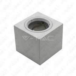 VT-716 GU10 Fitting Square Gypsum With Aluminium Ring White