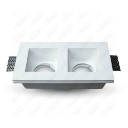 VT-762 GU10 Fitting Square Gypsum White 2 Holder
