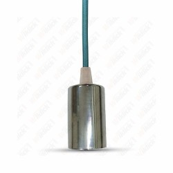 VT-7338 Chrome Metal Cup Pendant Light Blue