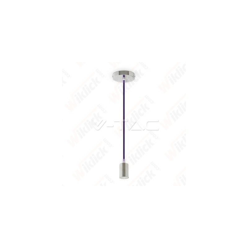 VT-7338 Chrome Metal Cup Pendant Light Purple