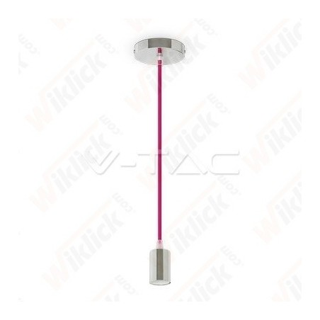 VT-7338 Chrome Metal Cup Pendant Light Rose Red