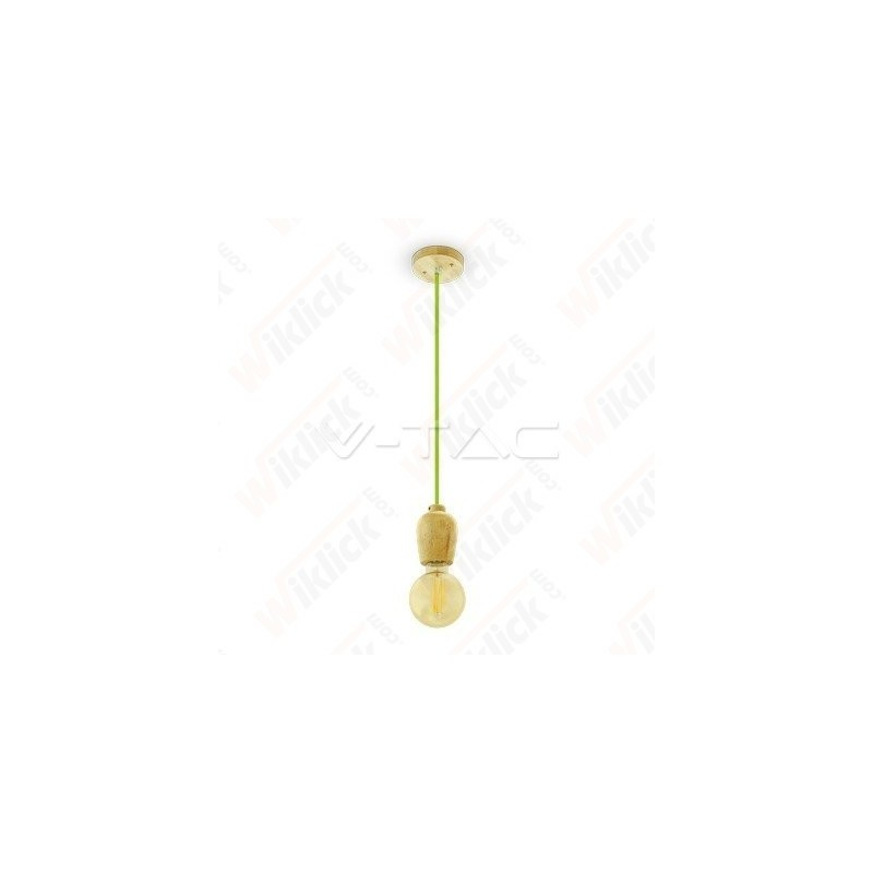 VT-7778 Wooden Pendant Light Green Wire