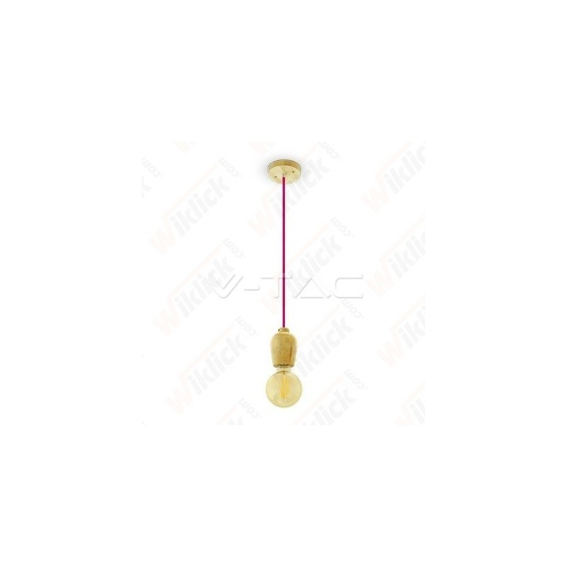 VT-7778 Wooden Pendant Light Red Wire