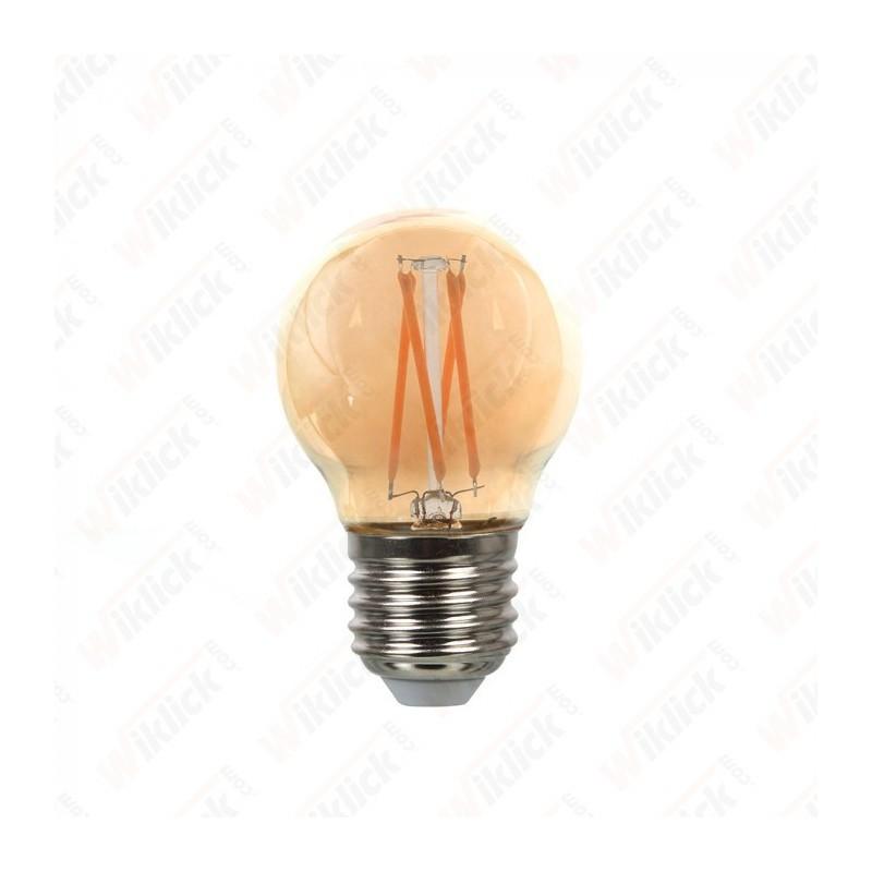 VT-1957 LED Bulb - 4W Cross Filament E27 G45 Amber Cover 2200K