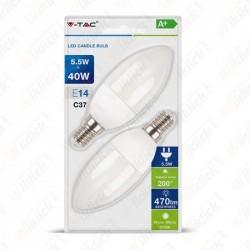 VT-2106 LED Bulb - 5.5W E14 Candle 4000K (Blister 2 pezzi)