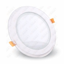 VT-1202G 12W LED Panel Downlight Glass - Round 6400K