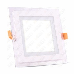 VT-1202G 12W LED Panel Downlight Glass - Square 3000K