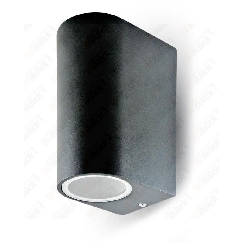VT-7652 Wall Sleek Fitting GU10 Aluminium Body Round Black 2 Way IP44