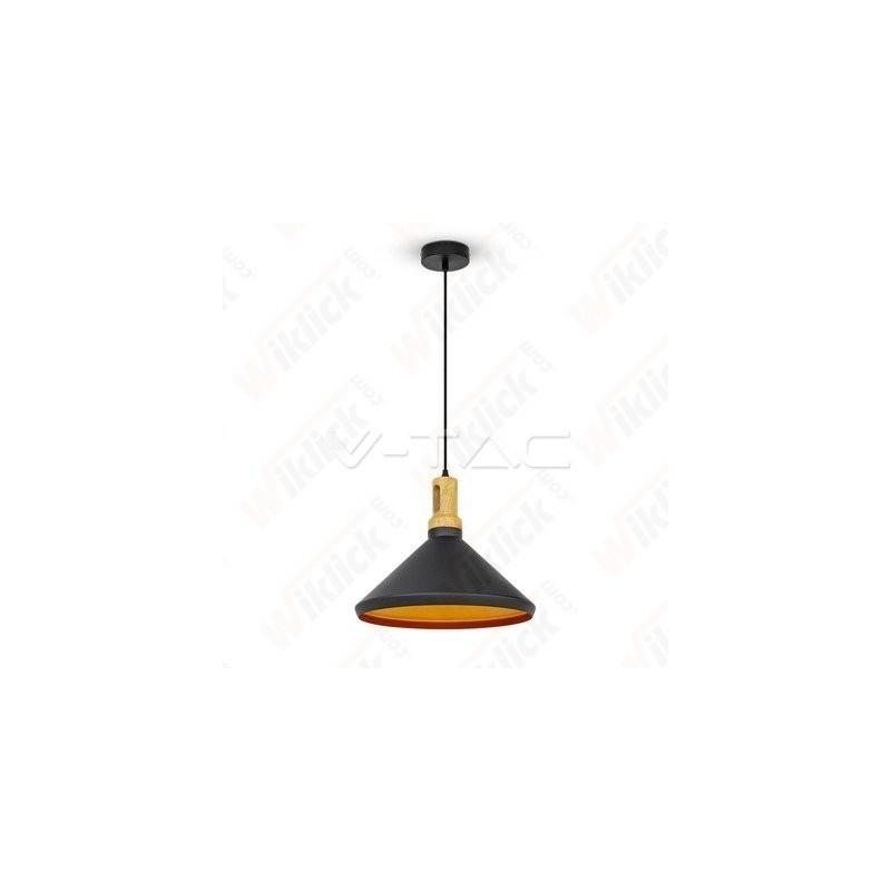 VT-7535 Modern Pendant Light Long Black Wooden Top