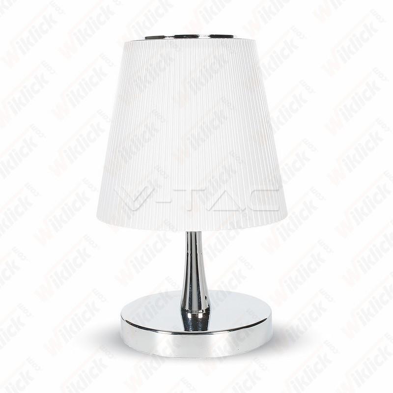 V-TAC VT-1035 Lampada LED da Tavolo 5W Colore Cromato Paralume Bianco 4000K Touch Dimmerabile - SKU 8502