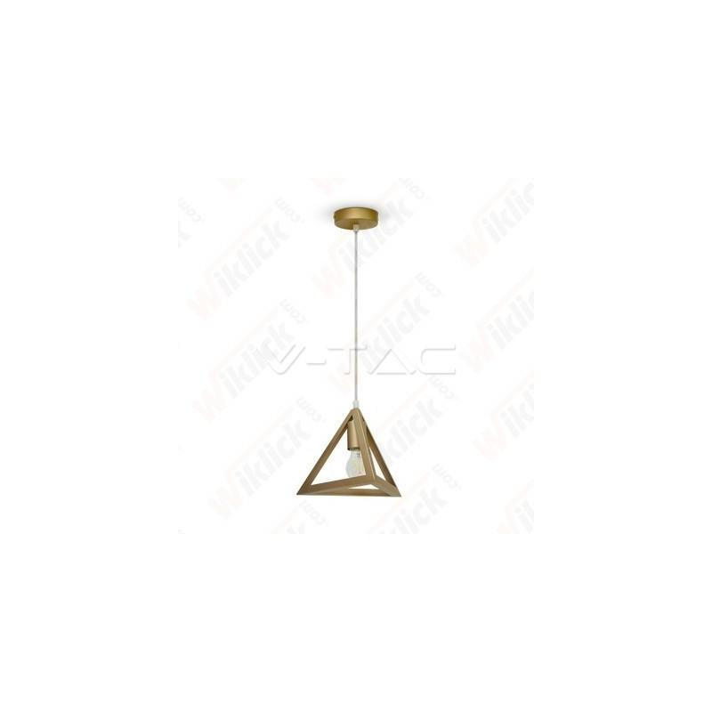 V-TAC VT-7141 Lampadario LED a Piramide in Metallo con Portalampada E27 (Max 60W) Colore Oro Champagne - SKU 3831
