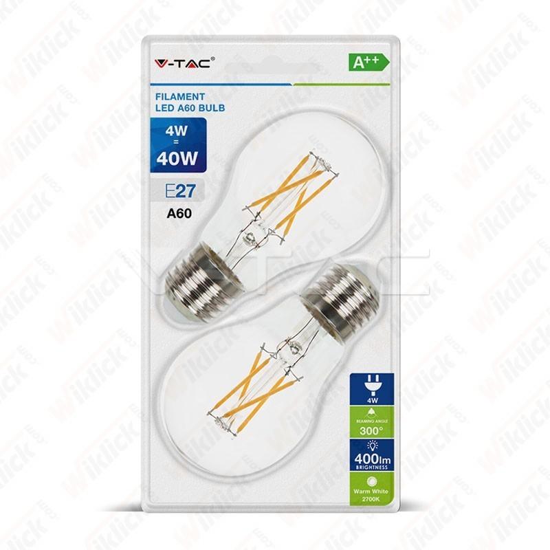 V-TAC VT-2114 Lampadina LED E27 4W A60 Filamento 2700K (Blister 2 Pezzi) - SKU 7283