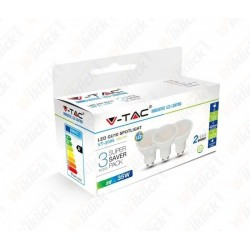 VT-2095 LED Spotlight - 5W GU10 SMD White Plastic 3000K (Box 3 pezzi)