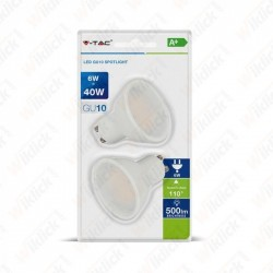 VT-2107 LED Spotlight - 6.5W GU10 Milky Cover 3000K (Blister 2 pezzi)