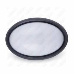 VT-8016 12W Oval Dome Light Fitting Black Body Round 4500K IP65