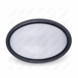 VT-8016 12W Oval Dome Light Fitting Black Body Round 4500K IP65