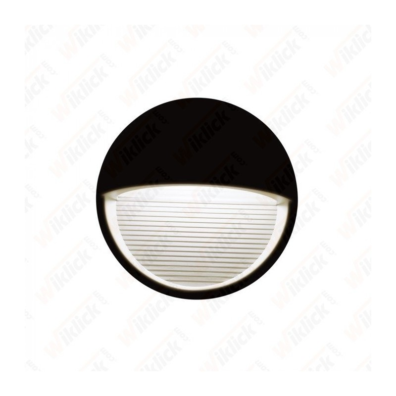VT-1182 3W LED Step Light Black Body Round 3000k