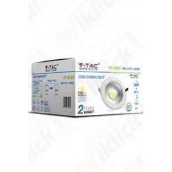 V-TAC VT-2620 FARETTO LED DA INCASSO ROTONDO 20W COB LUCE BIANCO FREDDO