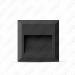 2W LED Step Light Black Body Square 3000K