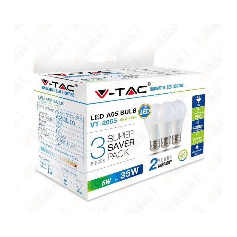 V-TAC VT-2000 LAMPADINA LED E27 5W A55 LUCE BIANCO CALDO (CONFEZIONE DA 3 PEZZI)