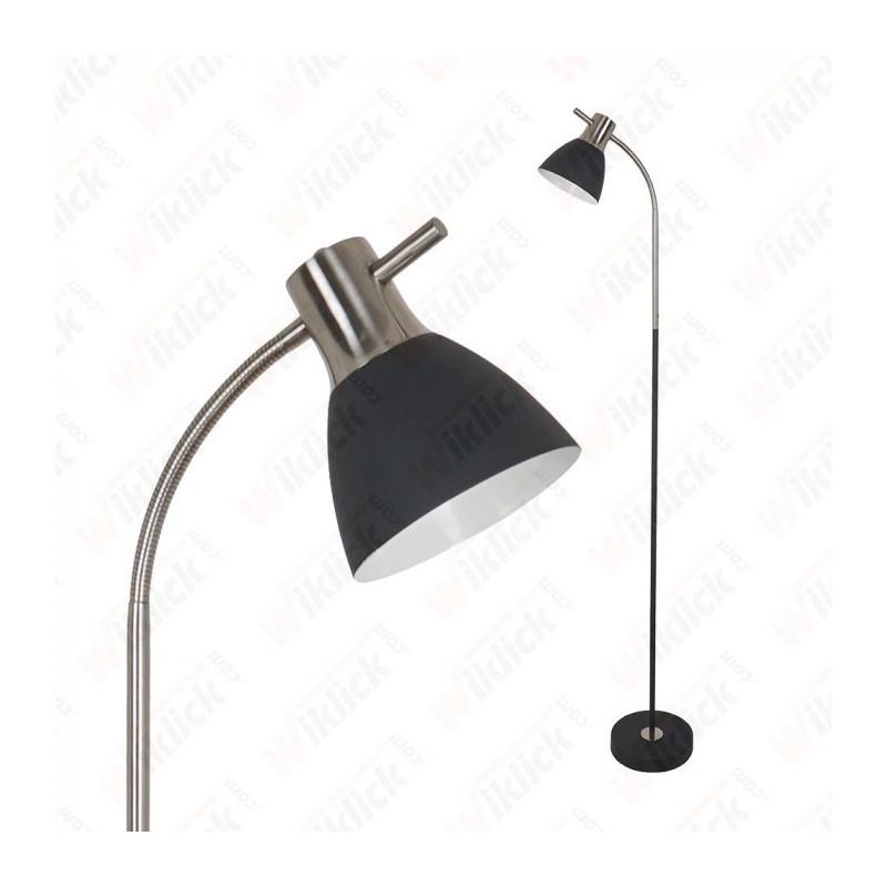 Floor Lamp E27 60W Sand Black + Satin Nickel - NEW