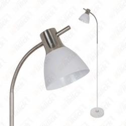 Floor Lamp E27 60W Sand White + Satin Nickel - NEW
