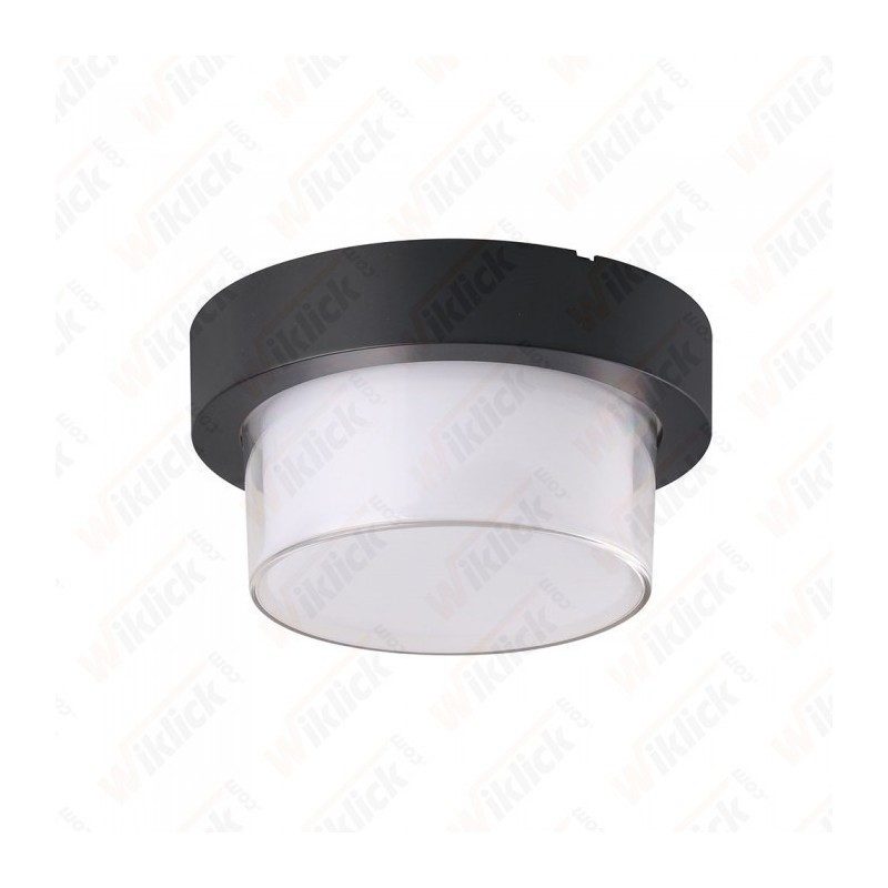 V-TAC VT-831 Lampada LED da Muro Rotonda 12W con Diffusore Semicoperto Colore Nero 3000K IP65 - SKU 8611