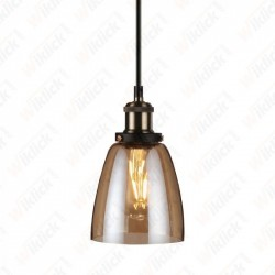 Vintage Glass Pendant Light Amber Diametro 140 - NEW