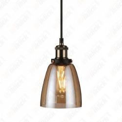 Vintage Glass Pendant Light Amber Diametro 140 - NEW