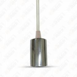 Chrome Metal Cup Pendant Light White